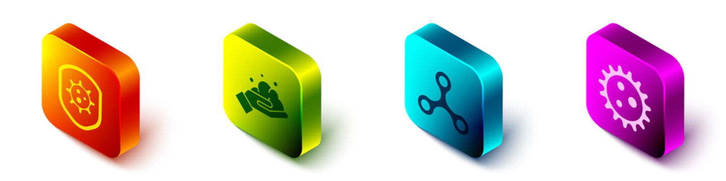 Set Isometric Shield protecting from virus, Washing hands with soap, Virus and Virus icon. Vector.