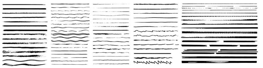 Set of lines, hand drawn dividers, doodle underlines. Vintage doodle underlines. Cartoon pattern element. Grunge frame set. Hand drawn grunge strokes. Vector illustration