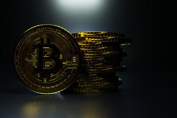 Bitcoin coin closeup shot, concept cryptocurrency shot