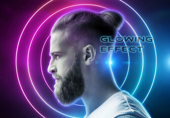 Glowing Portrait Photo Effect Mockup