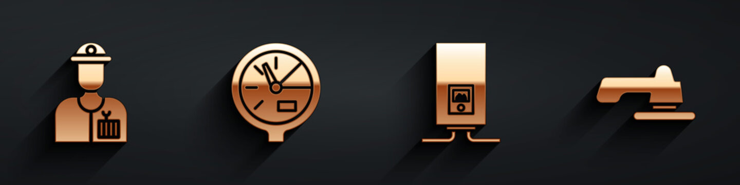 Set Plumber, Water meter, Gas boiler with a burning fire and Water tap icon with long shadow. Vector.