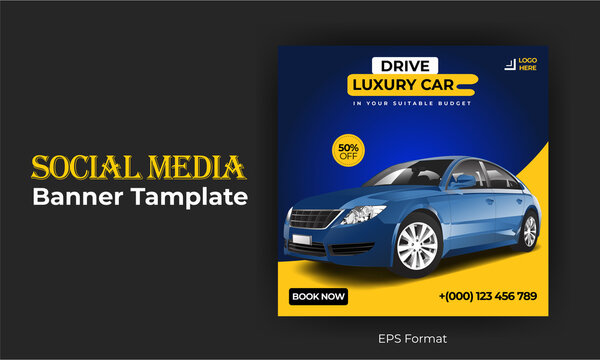 Luxury car sale social media post advertising banner template