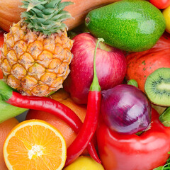Assortment of vegetables and fruits. Bright background.