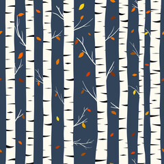 Birch seamless pattern, vector background with hand drawn birch trees