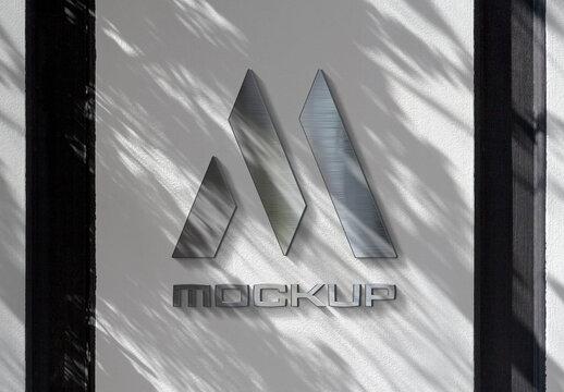 Reflecting Logo on Wall Mockup