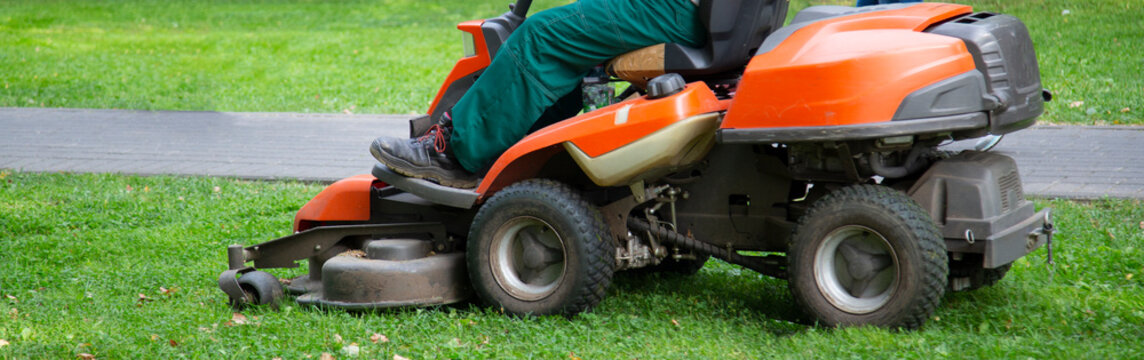 Petrol lawn mower. An employee uses a lawn mower to clean the lawn.
