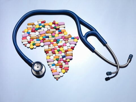 Pills in Africa map shape