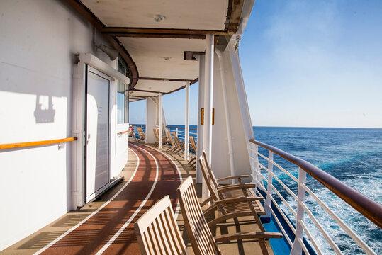 Deck of Cruise ship at sea, Falmouth, Jamaica