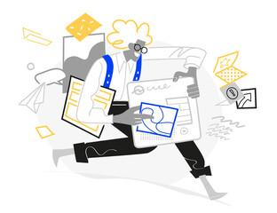 Un designer creativo che progetta interfacce grafiche e siti web