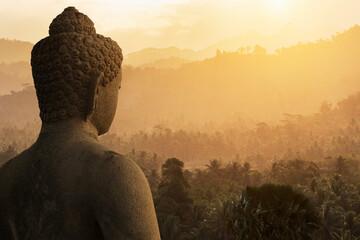Buddha and forest, The Buddhist Temple of Borobudur, Java, Indonesia