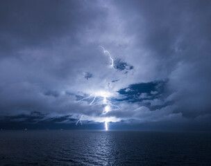 Lightning storm over Yumani Bay,  Isla del Sol, Lake Titicaca, Bolivia, South America
