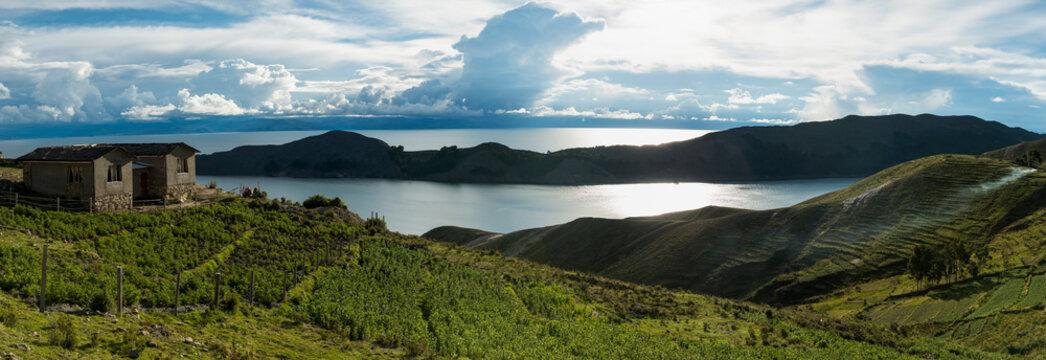 Panoramic view from Yumani, Isla del Sol, Lake Titicaca, Bolivia, South America