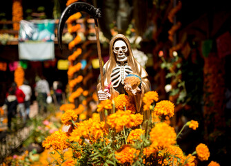 La Santa Muerte Altar with the grim reaper, Lake Patzcuaro, Michoacan, Mexico