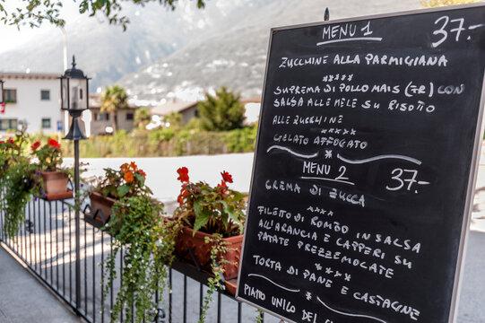 Restaurant menu on blackboard, Bellinzona, Ticino, Switzerland