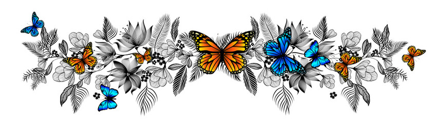 Flower abstraction with butterflies. Vector Illustrated Wall mural