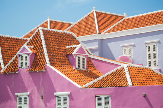 Pink and lavender painted houses, Punda, Willemstad, Curacao, Caribbean