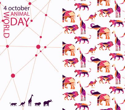 stylized poster Design for world animal day in bright trendy colors of autumn. Image of  geometric style and wild animals made of colorful triangles. EPS10