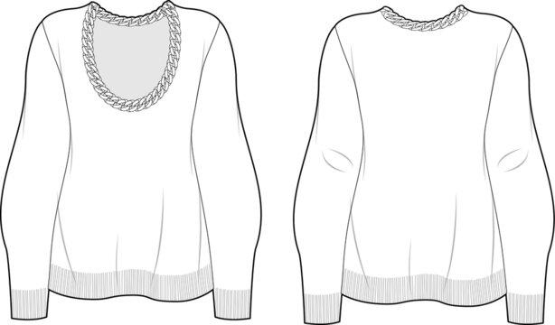 Knit Sweatshirt with chain, fashion vector sketch