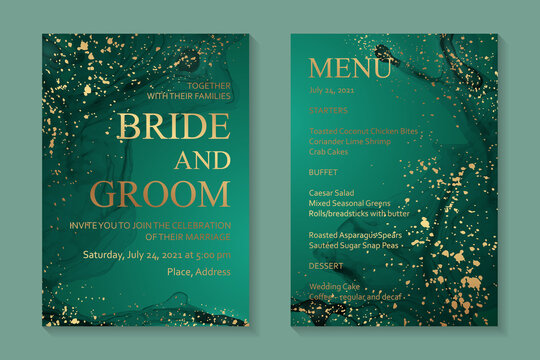 Modern abstract luxury wedding invitation design or card templates for birthday greeting or certificate or cover with green watercolor waves or fluid art in alcohol ink style and gold paint splashes.