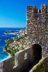 Elevated view of coast and Castle of Roquebrune, Roquebrune, France