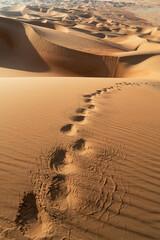 Foot steps on sand dune in the Empty Quarter Desert, between Saudi Arabia and Abu Dhabi, UAE
