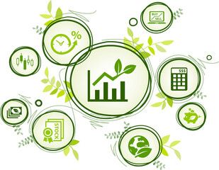 sustainable investing vector illustration. Concept with icons related to ethical investment, socially responsible or green investing, environmental consciousness in finance.