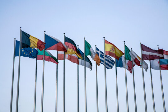 Flags of member states, Council of Europe, Strasbourg, France