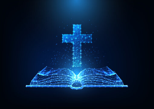 Futuristic Christianity worship concept with glowing low polygonal open bible and Christian cross