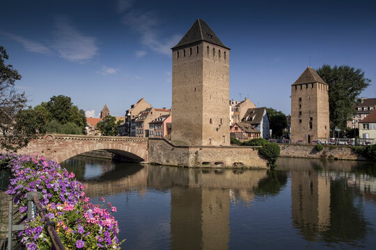 Old canals and bridge, Strasbourg, France