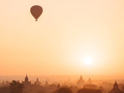 Hot air balloons at sunset, Bagan, Mandalay Region, Myanmar