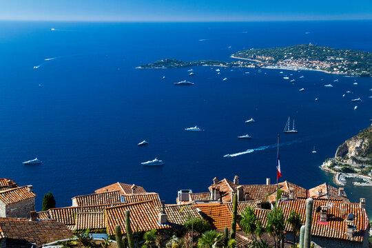View of Saint-Jean-Cap-Ferrat, viewed from Eze, Antibes, Provence-Alpes-Cote dAzur, France