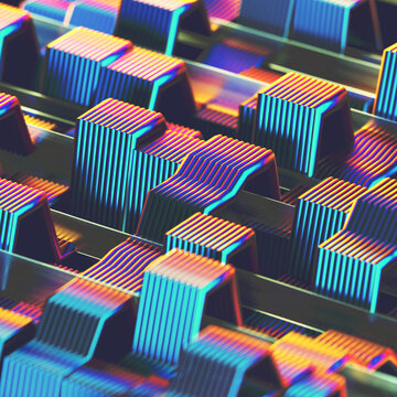 Rows of neon flat ribbon cables