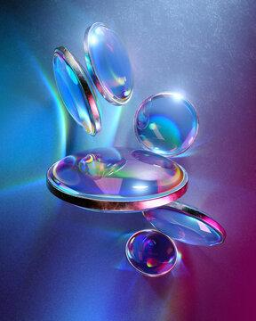 Variety of iridescent glass discs