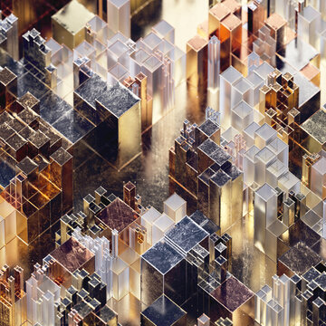 Overhead view of groups of shiny metallic rectangular blocks