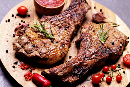 Pork steak with  sauce and spices with vegetables
