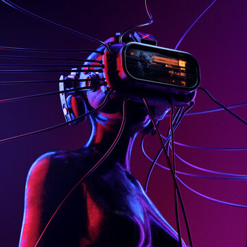 Female body wired to complex VR headset