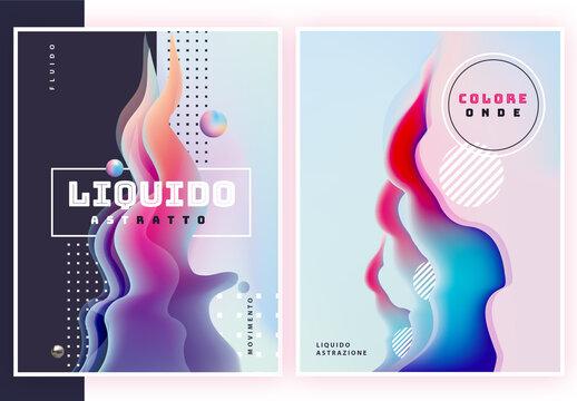 Set di poster astratti liquidi