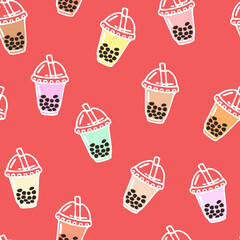 Vector seamless pattern with bubble tea in plastic cups with straw. Popular drink with tapioca pearls.