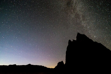 Stars over Temples of the Sun and Moon in Cathedral Valley at night