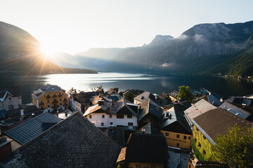 Scenic view of mountains and houses in morning