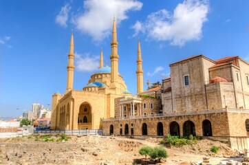View of Saint Georges Maronite Cathedral and Mohammad Al Amin Mosque