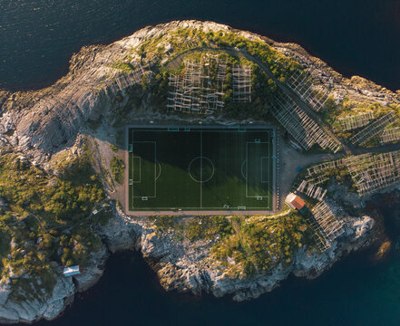 Aerial view of soccer field on Lofoten Islands