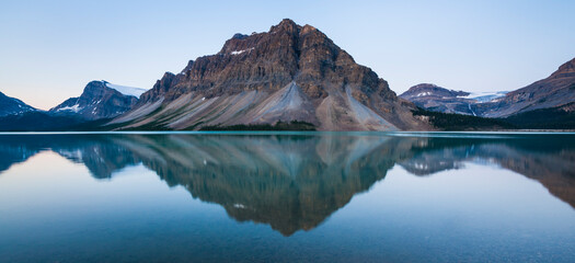Reflection of mountain in Bow Lake