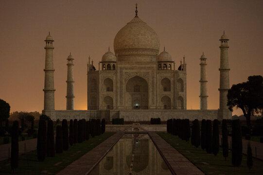 Exterior of Taj Mahal at night