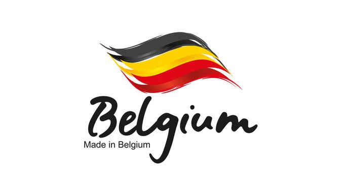Made in Belgium handwritten flag ribbon typography lettering logo label banner