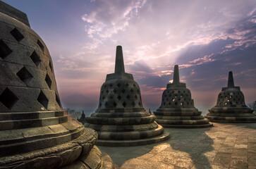 View of Borobudur Temple during sunrise