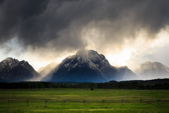 View of stormy clouds over Mount Moran in Grand Teton National Park