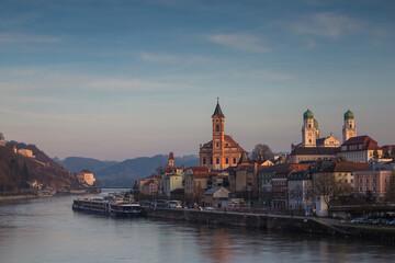View of Passau city during sunset