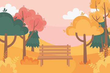 landscape in autumn nature scene, bench rural trees park bushes foliage