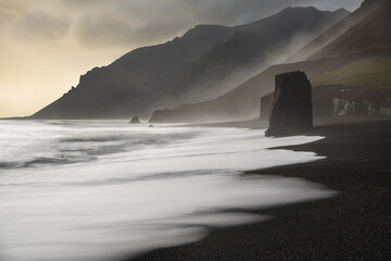 View of basalt sea stacks on beach